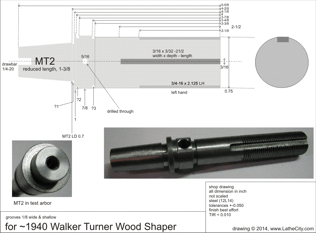 Chuck adapter ] - 1/2-20 bushings to 3/4-16 bolt end, apparently